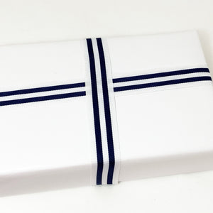 Load image into Gallery viewer, Grosgrain Ribbon - Navy/White
