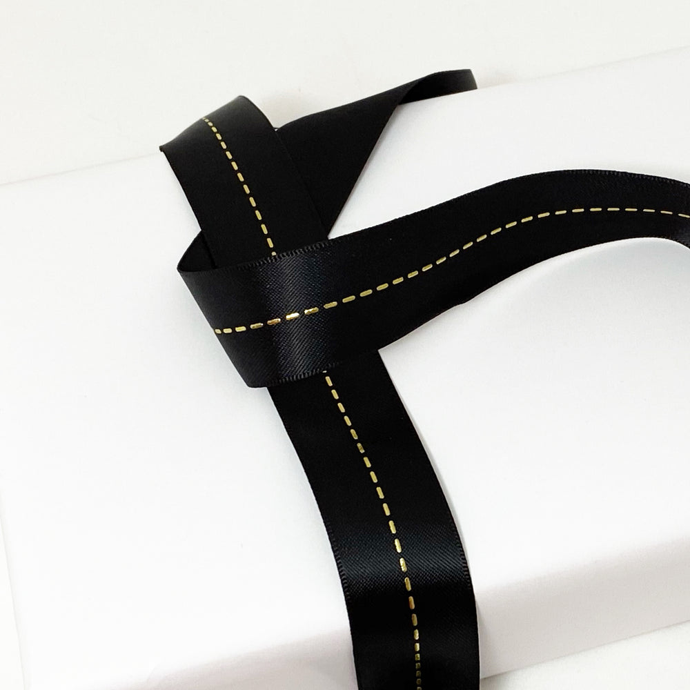 Satin Ribbon Foil Stitch - Black/Gold