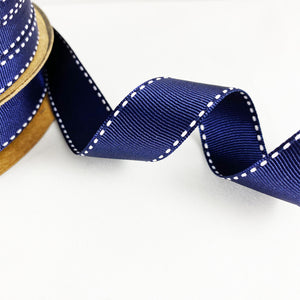 Grosgrain Ribbon Saddle Stitch - Navy/White