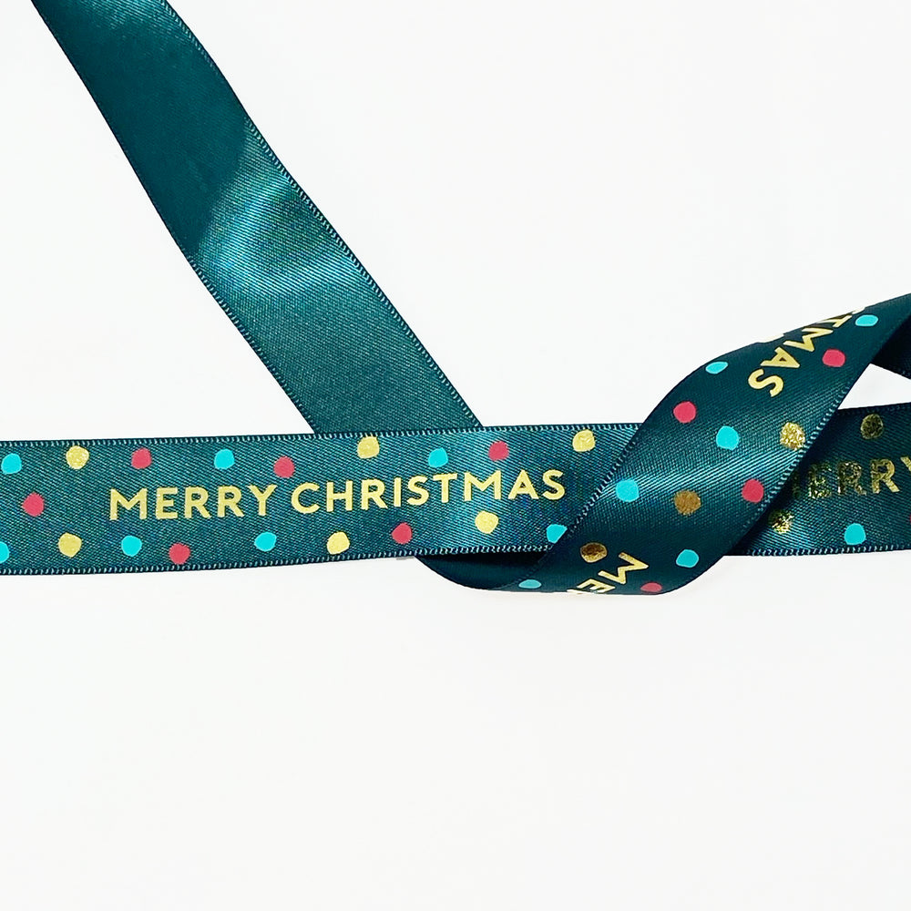 Jolly Christmas Satin - Evergreen/Gold