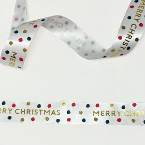 Load image into Gallery viewer, Jolly Christmas Satin - White/Gold