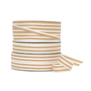 Load image into Gallery viewer, Metallic Stripe Grosgrain - Latte/Gold