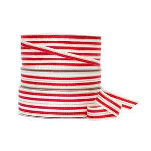 Load image into Gallery viewer, Metallic Stripe Grosgrain - Red/Gold