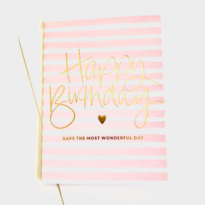 Striped Script Birthday Card - Pink