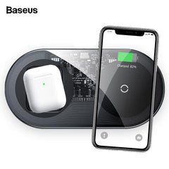 Baseus 2 in 1 Qi Wireless Charger For Airpods, iPhone and Samsung