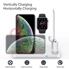 EKSPRAD 4 in 1 Wireless Charger, 10W Fast Charger Station