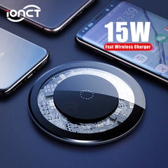 iONCT 15W Fast Wireless Charger for iPhone X XS 11pro Visible USB Qi Charging pad for Samsung