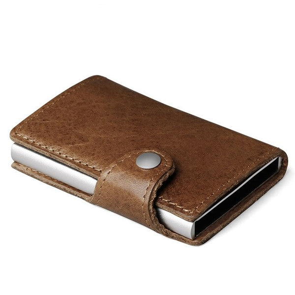 Genuine Leather Men Aluminum Wallet Back Pocket