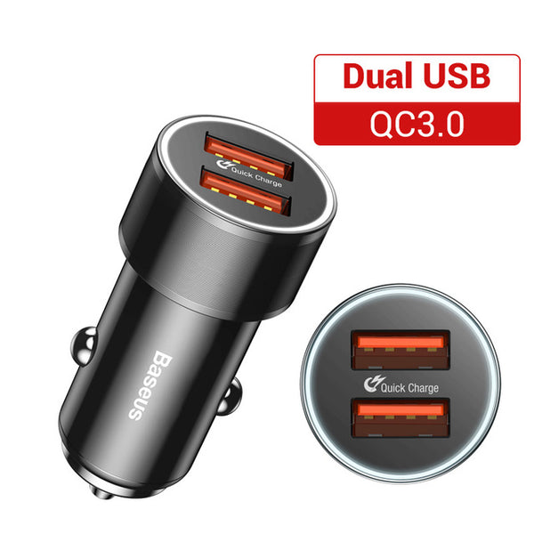 36W Dual USB Quick Charge QC 3.0 Car Charger For iPhone USB Type-C PD Fast Charger Mobile Phone Quick Charger Car-Charger