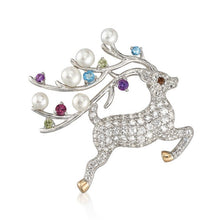Load image into Gallery viewer, Gemstone Reindeer Pin and Pendant