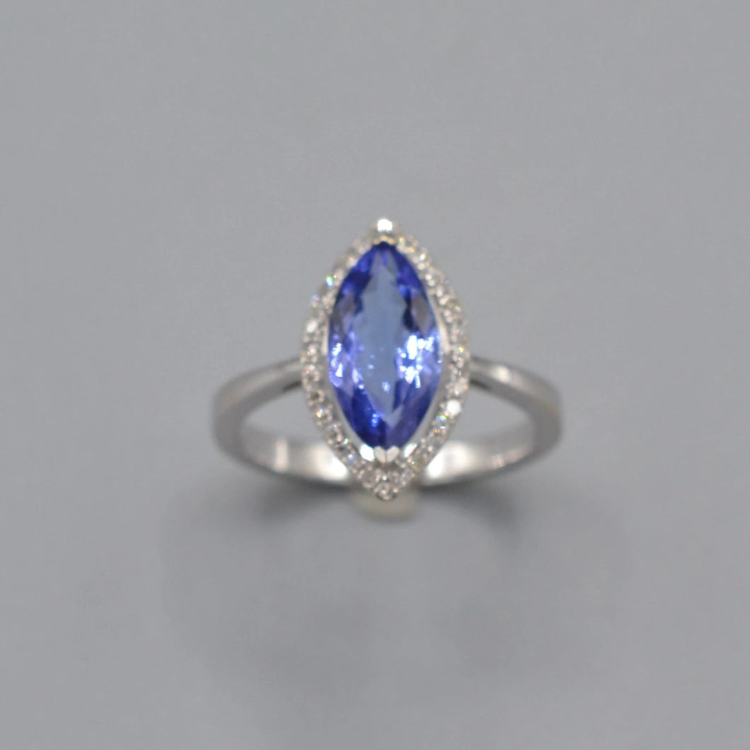 Diamond and Simulated Tanzanite Ring