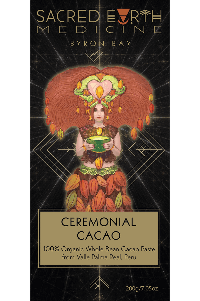200g of Ceremonial Cacao from Sacred Earth Medicine - Front