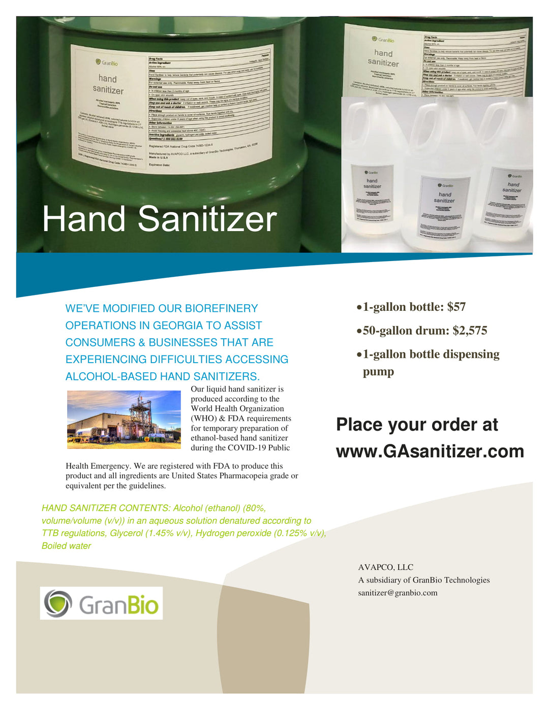 Hand Sanitizer Available in 1-gallon bottles and 50-gallons drum sizes in Georgia, USA
