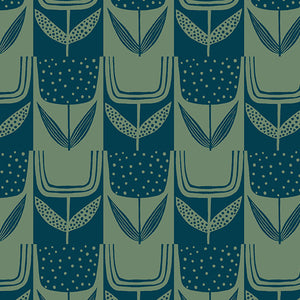 Patchwork Tulips in Bottle Green | Perennial by Sarah Golden