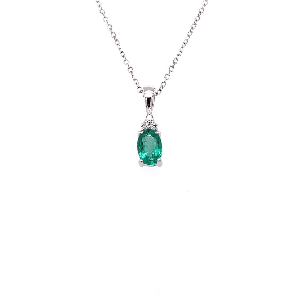10k White Gold Emerald and Diamond Necklace