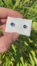Load and play video in Gallery viewer, Sapphire Stud Earrings with Diamond Halo