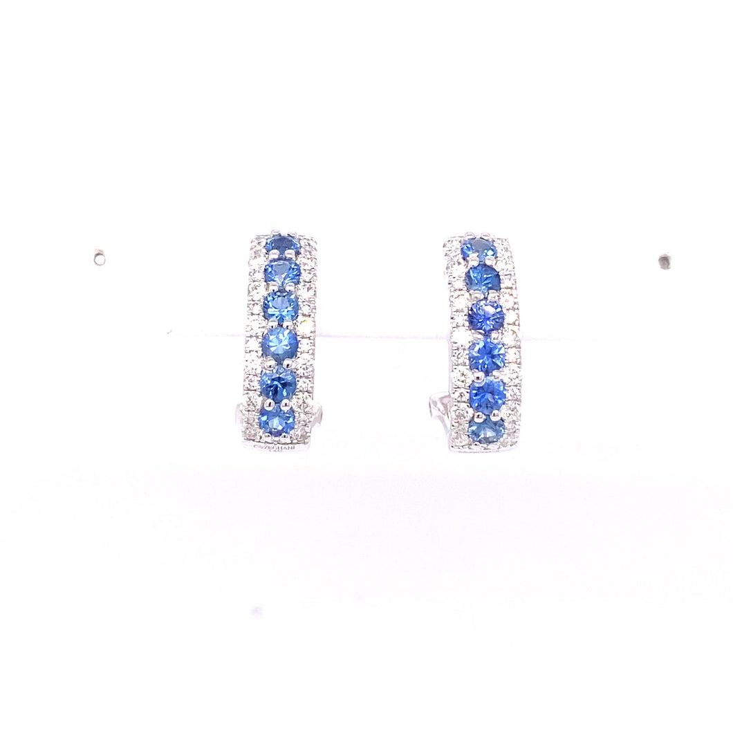 14K White Gold Sapphire and Diamond Hoop Earrings