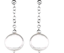 Load image into Gallery viewer, Sterling Silver 12-13 mm Freshwater Cultured Coin Pearl Earrings