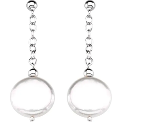 Sterling Silver 12-13 mm Freshwater Cultured Coin Pearl Earrings