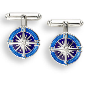 Blue Compass Rose T-Bar Cufflinks.Sterling Silver-White Sapphires