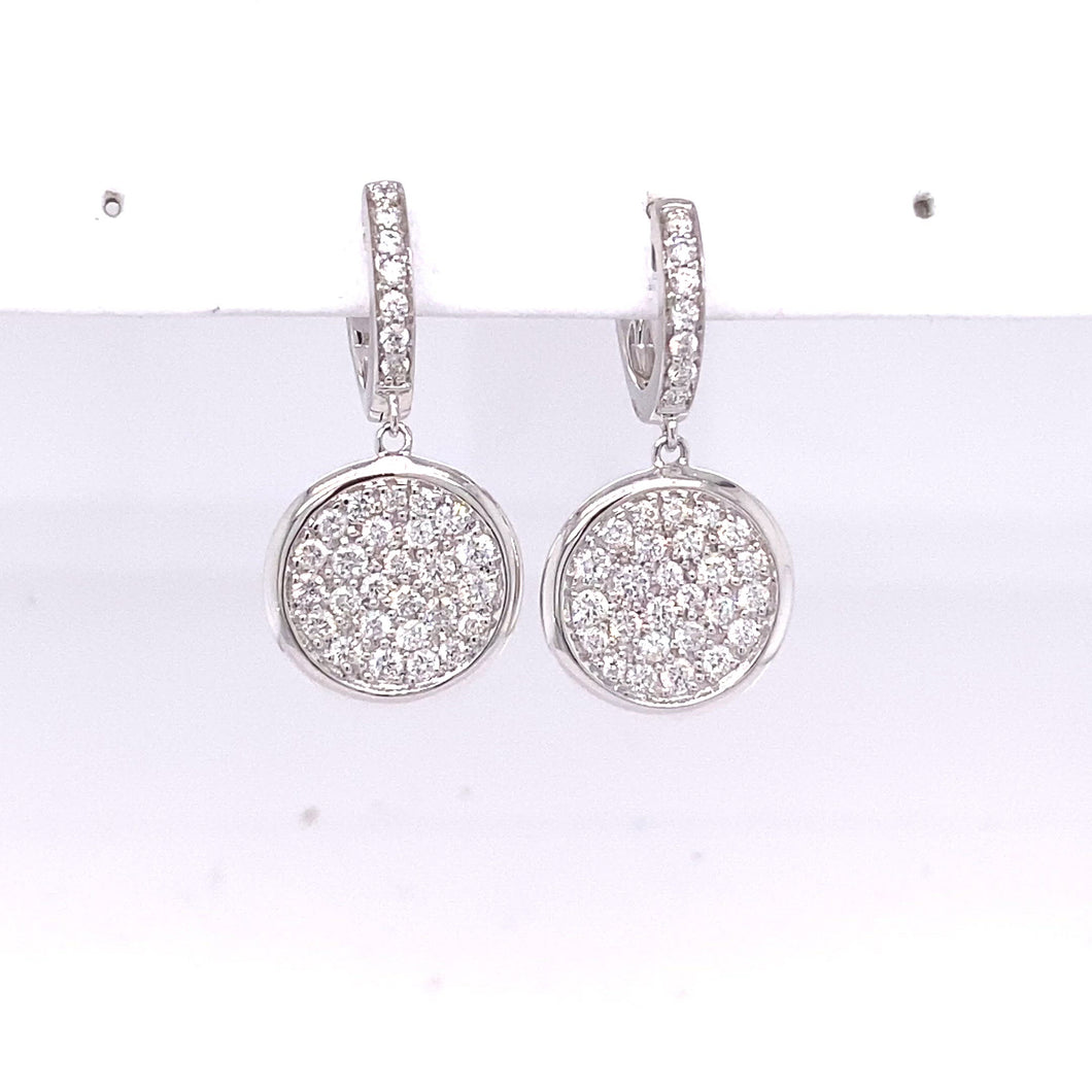 14K White Gold Pave Earrings