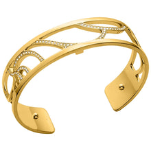 Load image into Gallery viewer, Floral by Les Georgettes Gold Cuff Bracelet with Reversible Leather Strap