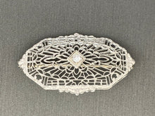 Load image into Gallery viewer, Art Deco Diamond 14k White Gold Filigree Brooch