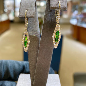 14k Yellow Gold Earrings with Copenhagen Diopside and Diamonds