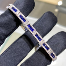 Load image into Gallery viewer, 14k White Gold Sapphire and Diamond Bracelet