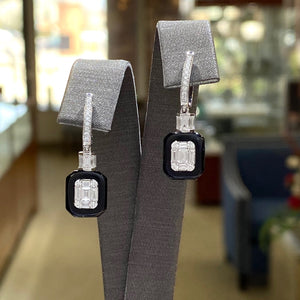 18K White Gold Diamond and Onyx Earrings