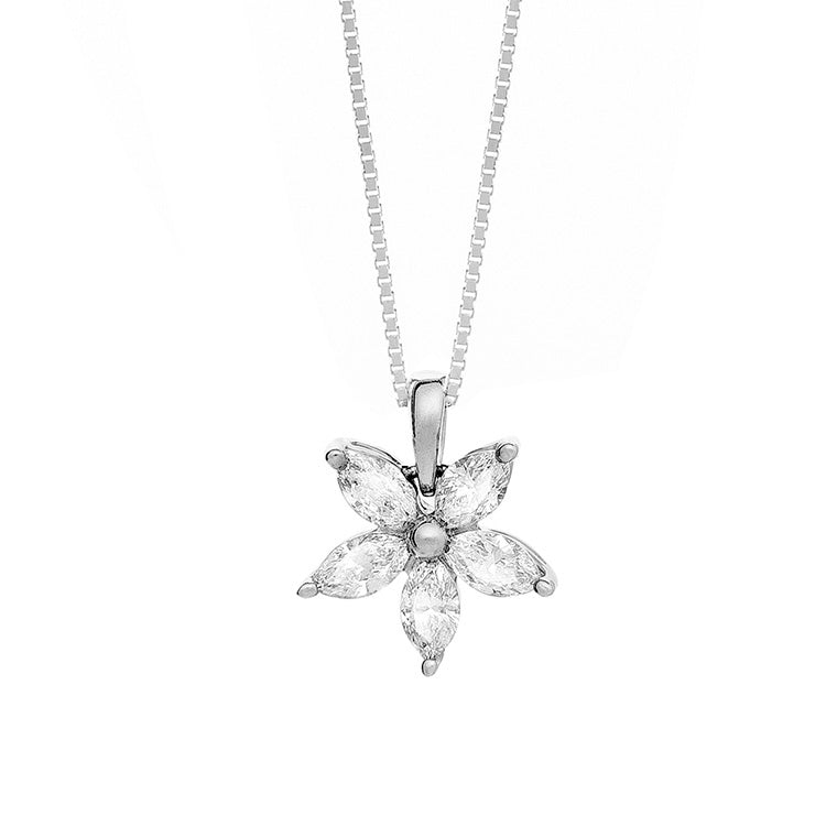 14K White Gold Floral Diamond Necklace