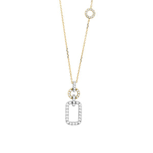 14K White and Yellow Gold Geometric Diamond Necklace