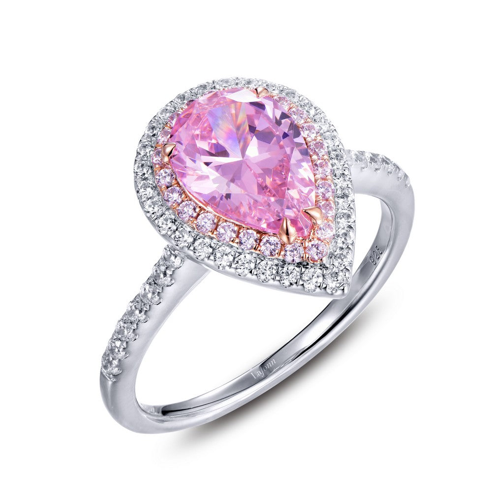 Lafonn Pink Pear Shaped Double Halo Ring