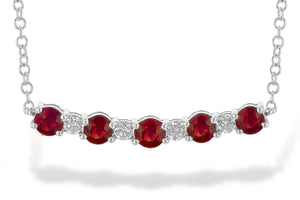 14k White Gold Ruby and Diamond Bar Necklace