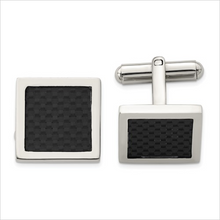 Load image into Gallery viewer, Stainless Steel Black Carbon Fiber Cufflinks