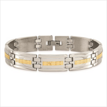 Load image into Gallery viewer, Stainless Steel Polished Bracelet with with 14k Yellow Gold Accents