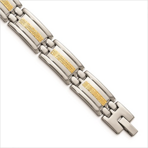 Stainless Steel Polished Bracelet with with 14k Yellow Gold Accents