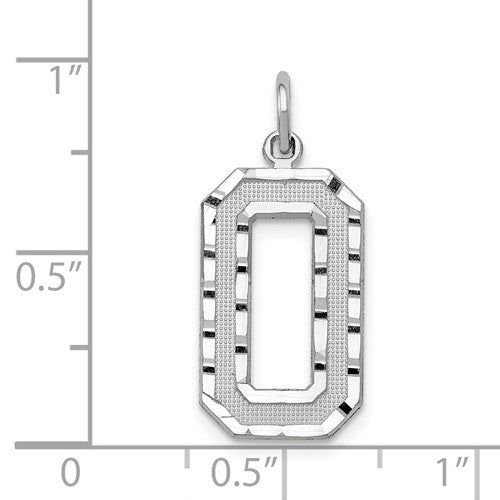 14K White Gold Number 0 Pendant & Chain