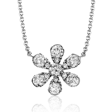 Load image into Gallery viewer, 14K White Gold Diamond Flower Necklace