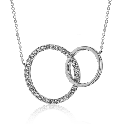 Zeghani 14K White Gold Double Circle Pendant