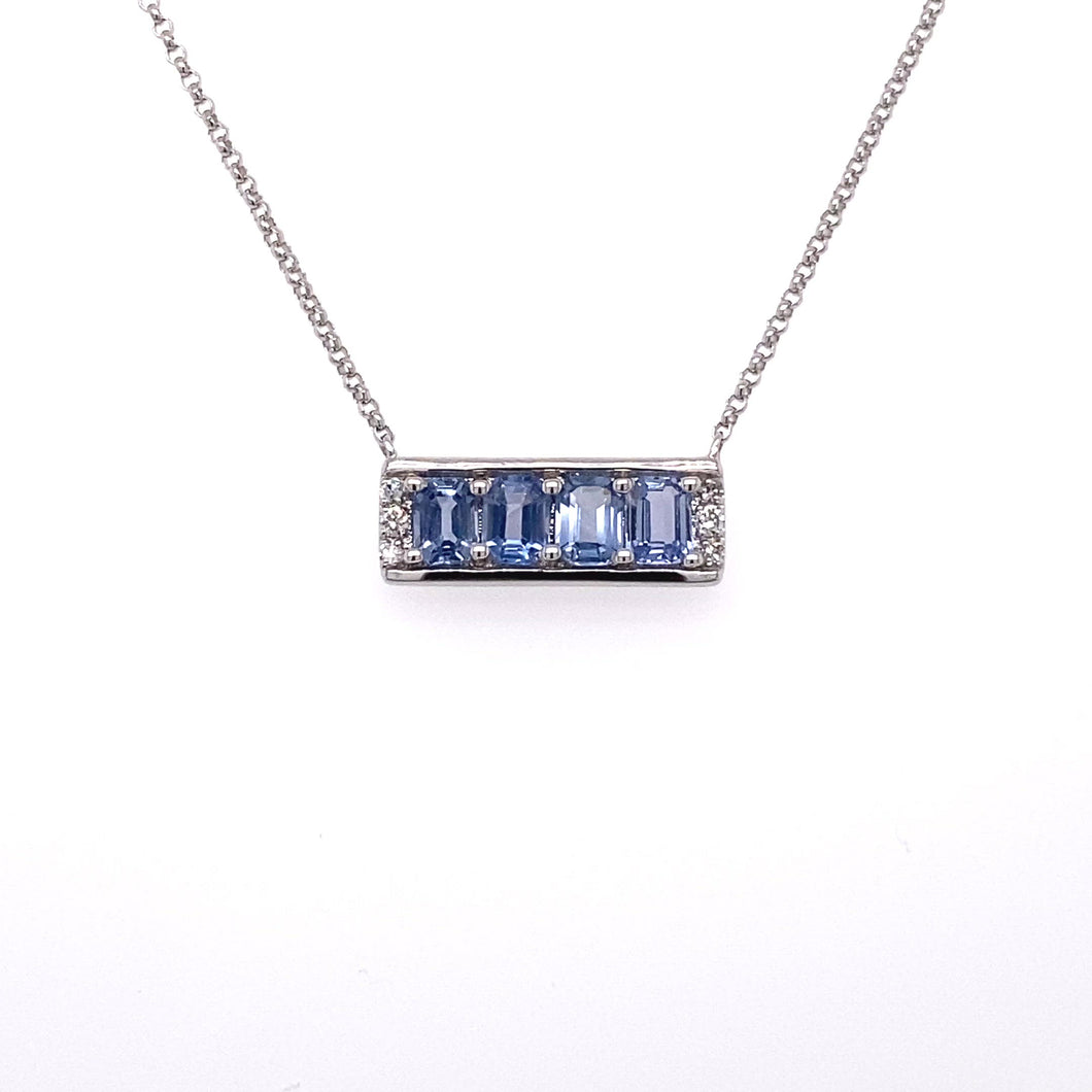 White Gold Pendant with Fancy Light Blue Sapphire
