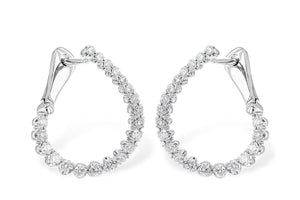 14K White Gold Diamond Curved Hoop Earrings