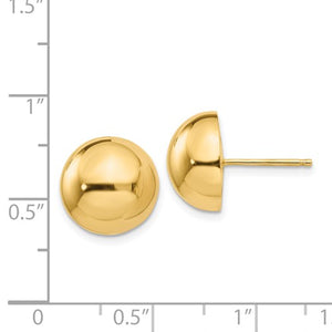 Yellow Gold Large Polished Half Ball Post Earrings