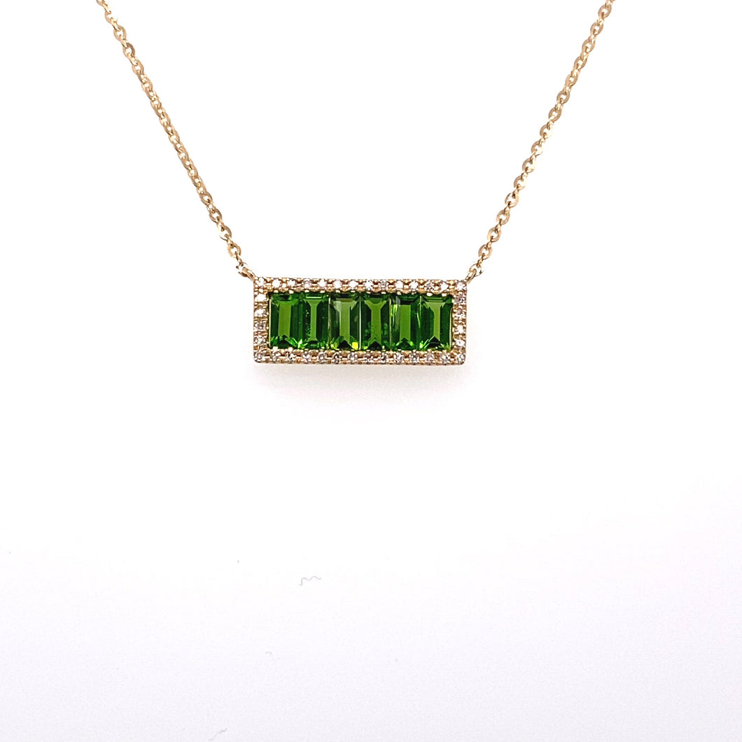 14K Yellow Gold Chrome diopside Necklace