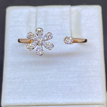Load image into Gallery viewer, 14K Rose Gold Diamond Flower Ring