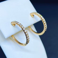 Load image into Gallery viewer, 14K Rose Gold Diamond Hoop Earrings