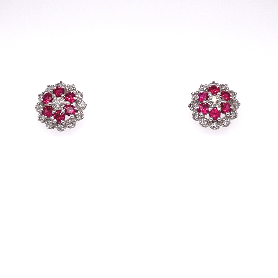 14K White Gold Ruby and Diamond Cluster Earrings