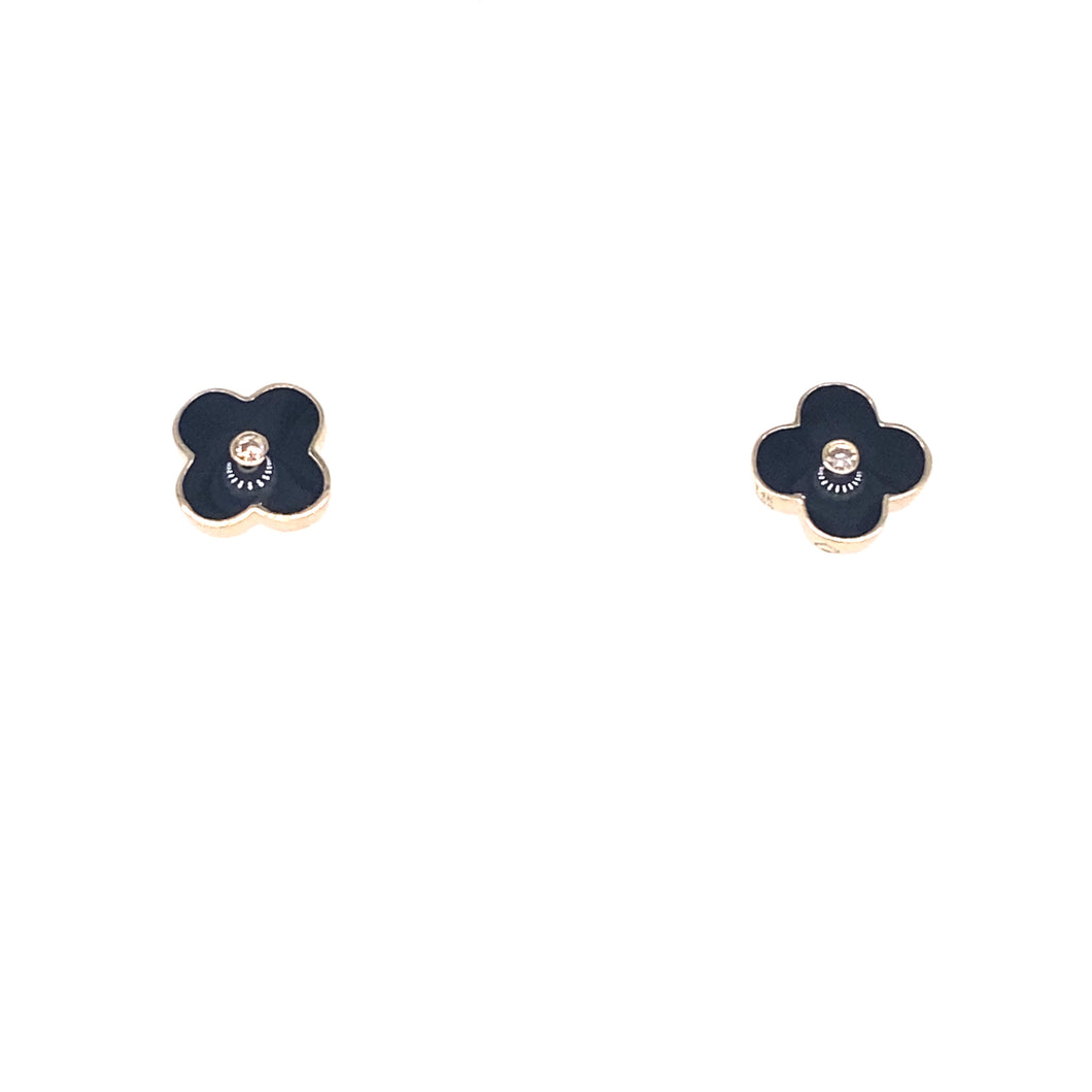 Yellow Gold Black Enamel Clover Earrings
