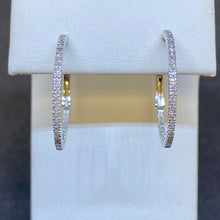 Load image into Gallery viewer, 14K White Gold Inside Outside Diamond Hoop Earrings