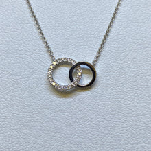 Load image into Gallery viewer, 14K White Gold Mini Double Circle Diamond Necklace